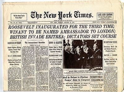 Ny Times Presidential  Inauguration Day Special Retro Issue Front Pgs 1873-1941