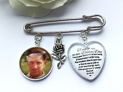 Groom Buttonhole Photo Memory Charm Message From Bride Grooms Gift Wedding