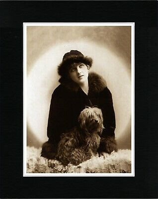 Lady And Tibetan Terrier Vintage Style Dog Photo Print Ready Matted
