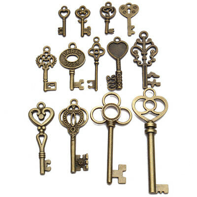 13pz Antique Vintage Old Look Skeleton Key Lot Set Pendant Heart Bow Lock Steam