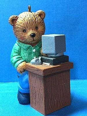 "Cute ""Bear Sitting At A Desk With A Computer""Ornament   (NB)"