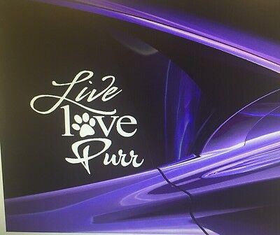 """Live Love Purr"" Cat Vinyl Window Decal Sticker 5x5"" cat lover - cat lady - gift"
