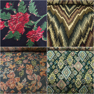 Vtg Cotton Tapestry Zig Zag Aztec Upholstery Fabric Leaf Teal Floral Chenille