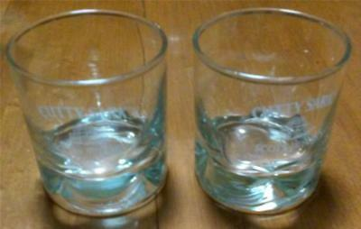"Pair of Cutty Sark Scots Whisky Glasses 3"" Diam., 3 1/4"" Ht. Dimpled, Heavy Base"