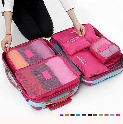 6Pcs Waterproof Cube Travel Storage Bags Clothes Pouch Nylon Luggage Organiser T