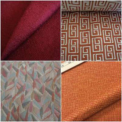 0a05ece216 Vtg Abstract Geometric Upholstery Fabric Burnt Rusty Orange Brick Red Greek  Key