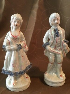 Two Vintage Dresden Type Painted Gold Gilt Figurines