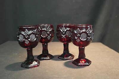 Vintage Set of Four Avon Cranberry Cape Cod Glasses Christmas
