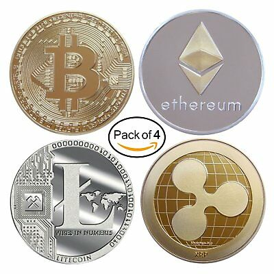 Cryptocurrency Gift Set - Bitcoin Ethereum Litecoin Ripple 4pack gold silver