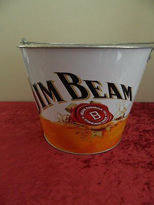 Jim Beam Bourbon NEW metal drink ice cube bucket for home bar  or collector