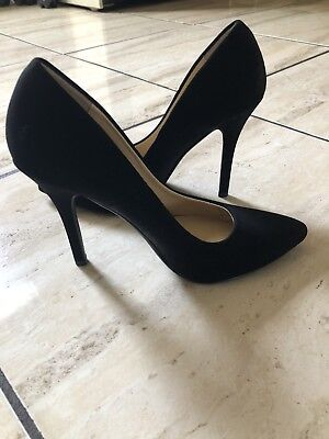 8a2c5b8452a ALDO BLACK SUEDE Strappy Point Toe Ankle Strap Heels