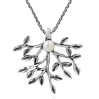 Synthetic Coral Bloom White Cultured Pearl Sterling Silver Necklace (Thailand)