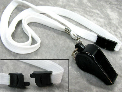 DUPLEX BLASTO WHISTLE Black Plastic w/Cork Ball 16 Inch Neck Cord