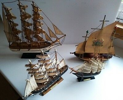 Vintage Collectable Wooden Boat Collection - Sailing Models