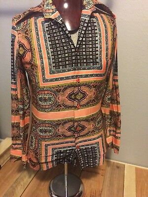 Set of 2 Vtg 70s Touch of Class Men's Button Polyester/Nylon Disco Club Shirts
