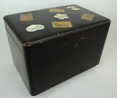 Japanese Export Antique 19th century Nashiji Lacquered Tea Caddy Box