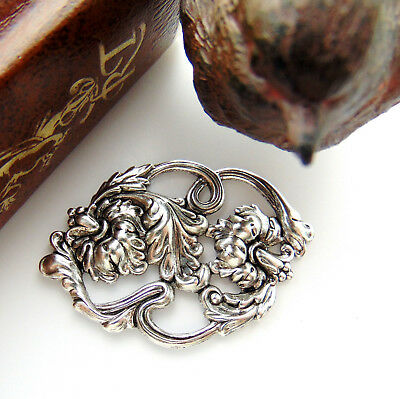 ANTIQUE SILVER Scroll Flower and Leaf Stamping ~ Ornament Finding (FB-6044)