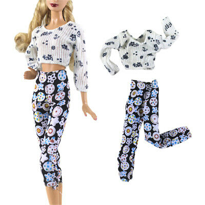 2Pcs/Set Handmade Fashion Doll Clothes Suit for Barbie Doll Party Daily Clothes