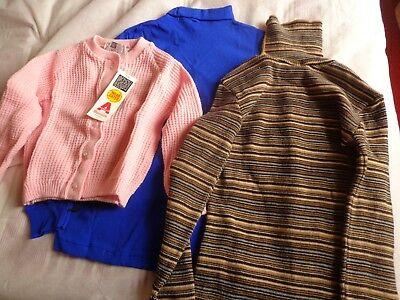 3 1970S Childrens Vintage Pullovers In Various Sizes And Patterns