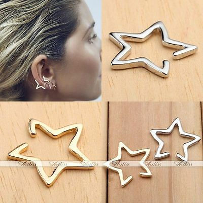 1pc Punk No Piercing Men Women Hollow Star Ear Cuff Clip Earring Fashion Jewelry