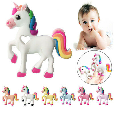 Silicone Baby Teether Unicorn Chew Teething Necklace Pendants Silicone Baby Toys