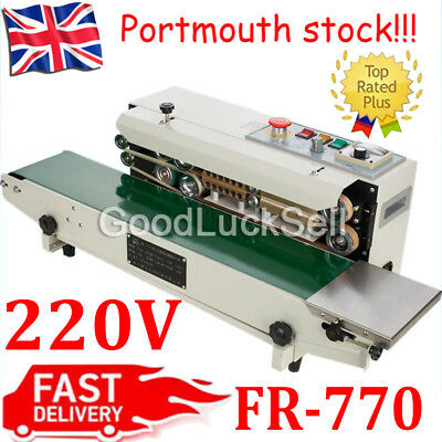 220V Fr-770 Continuous Automatic Sealing Machine Band Sealer Plastic Bag Film Uk