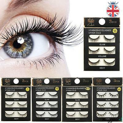 3 Pairs False Eyelashes Long Thick Natural Fake Eye Lashes 3D Make Up
