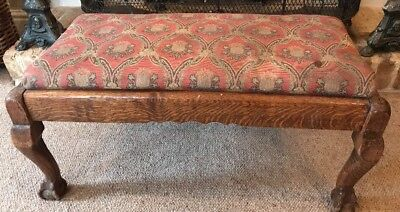 Vintage Antique Foot Stool Carved Wood Ball & Claw Feet ~ Floral Fabric