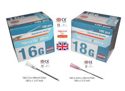 RAYS Sterile 16G 18G Hypodermic Needles Medical Clinical CE Marked NHS approved