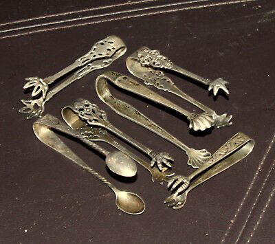 Six (6) High Quality Diverse Vintage Antique Sterling Silver Sugar Tongs