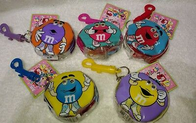 M&M's Lot Of 5 Minis Zipper Pouches With Keychains
