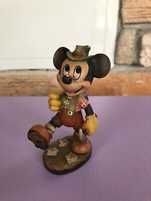 Vintage MICKEY MOUSE Limited Edition Wood Carved Anri Disney Italy Figurine