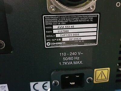 Coherent AVIA 532-45 45W Laser. Tracked insured shipping