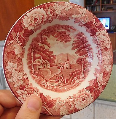 """5"""" Enoch Wood's English Scenery BERRY BOWL Woods Ware/Wood & Sons ENGLAND Pink"""