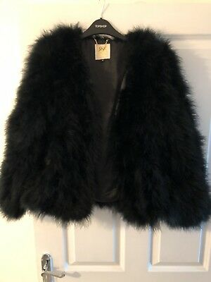 6b30ce5bd3a4 Pello Bello Fluffy Fur Feather Fever Jacket Classic Black Size Medium