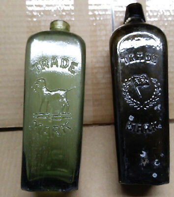 Antique Early Hand Blown Cast African Gin Bottles