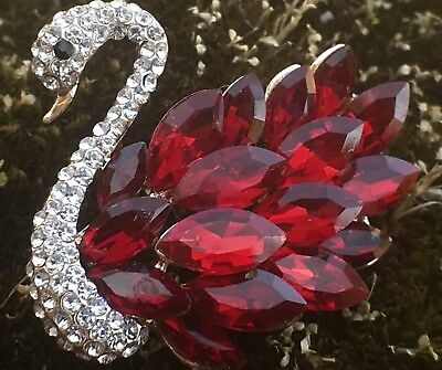 Crystal Rhinestone Red Rhinestones Brooch Swan Bird Pin Wedding Fashion Jewelry