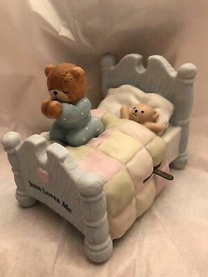 Lucy & Me Boy Bear Praying On Bed Musical; FREE  SHIPPING !!