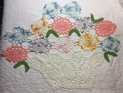 Vintage Cotton Hand Crocheted Doilie Doily PRETTY Flower Baskets UNUSED