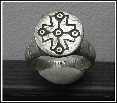 Ancient Silver Byzantine  Ring ** CROSS ** RARE **TOP**