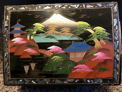 Vintage 1950's Japanese Black Hand-painted Windup Musical Jewelry Box w/ Abalone