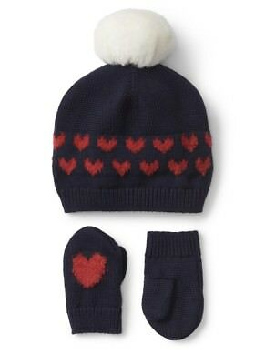 a842e2500c8 GAP BABY GIRL Heart Pom Pom Hat and Mitten Set Red Navy Blue Size 12 ...