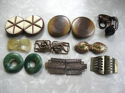Lot of 9 Pair Antique Vintage Asst BELT BUCKLES ~ Sewing ~ Crafts ~ Hobbies