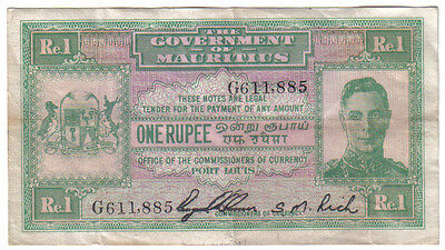 Mauritius 1 Rupee 1940 Pick 26 Look Scans