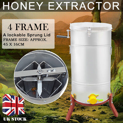 New 4 Frame Stainless Steel Honey Extractor Spinner Beehive Beekeeping Manual