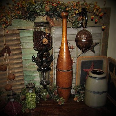 """Antique Vtg Early 1900's 22"""" Two Band Juggling Circus Exercise Club Bowling Pin"""
