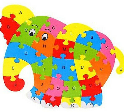 FD3453 Wooden Blocks Kid Child Educational Alphabet Puzzle Jigsaw Toy ~Elephant♫