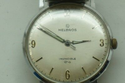 VINTAGE HELBROS MENS WATCH INVINCIBLE 1960s SILVER TONE TIME 2ND HAND W GERMANY