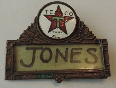 Vintage Estate Early TEXACO OIL CO Service Station Employee NAME BADGE