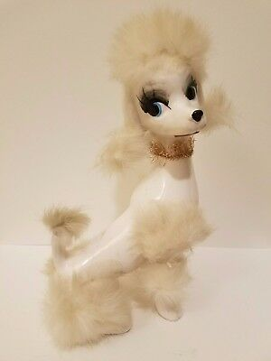 Vintage Japan Large Poodle Dog Porcelain Ceramic Figurine w/ Real Fur